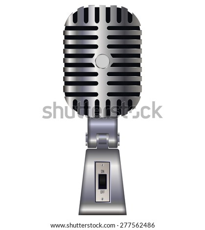 Vintage silver microphone. Vector illustration isolated on white background
