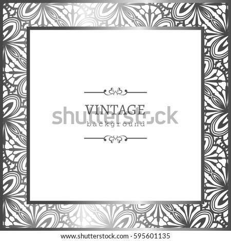 Vintage silver photo frame ornamental border stock vector 2018 vintage silver photo frame with ornamental border vector greeting card or invitation design stopboris Gallery