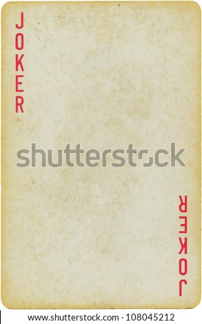 vintage simple background : playing card - joker - stock vector