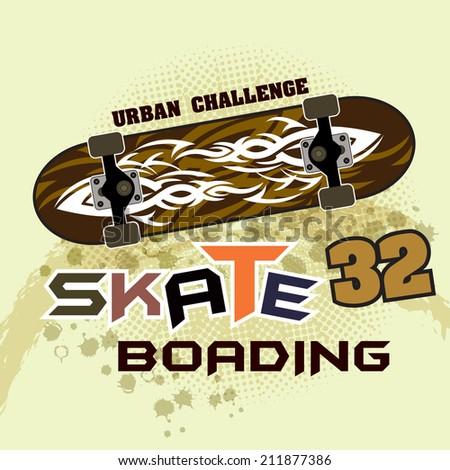 vintage Skateboard ( T-Shirt Print ) - stock vector