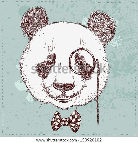 Vintage sketch  illustration of panda bear in hat in vector - stock vector