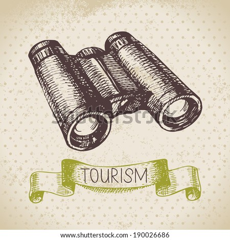 Vintage sketch tourism background. Hike and camping hand drawn illustration - stock vector