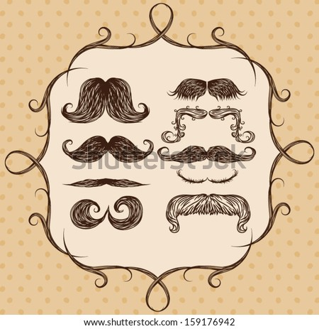 Vintage Sketchy Mustache Set - stock vector