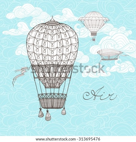 Vintage sky poster with retro hot air balloons on ornamental clouds background sketch vector illustration - stock vector