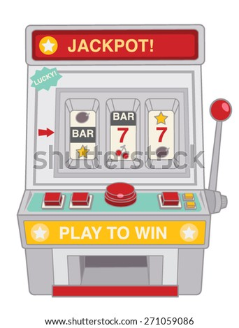 Vintage slot machine toy isolated on white  - Vector file EPS10