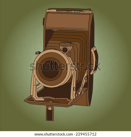 vintage small format photo camera - stock vector