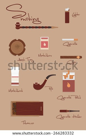 Vintage smoking set. There are tobacco pipes, cigarettes, matches, ashtray, tobacco - stock vector