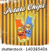 vintage snack chips yellow stripes - stock vector