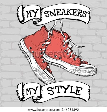 Vintage Sneakers on brick background, Hand Drawn, vector illustration. - stock vector