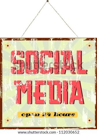 vintage social media sign - stock vector