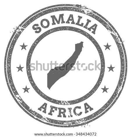 Vintage Somalia stamp with continent name. Grunge rubber stamp map with Africa and Somalia text, vector illustration - stock vector