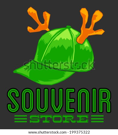 Vintage Souvenir Store emblem - cap with reindeer horns - vector icon - add your text - stock vector
