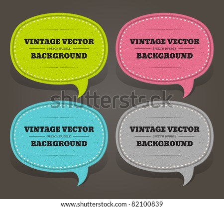 Vintage speech bubble set on old textured paper. Eps 10. - stock vector