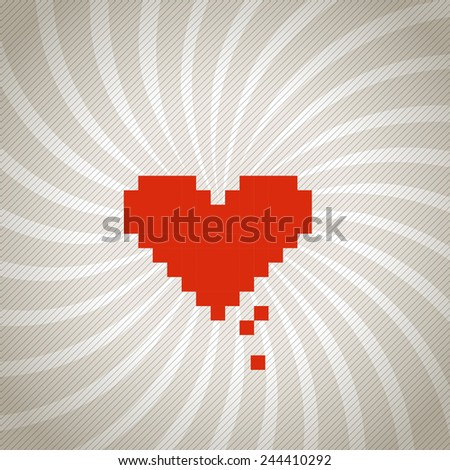 Vintage spiral background with a red heart - stock vector