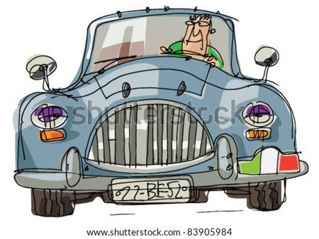 vintage sport car - stock vector