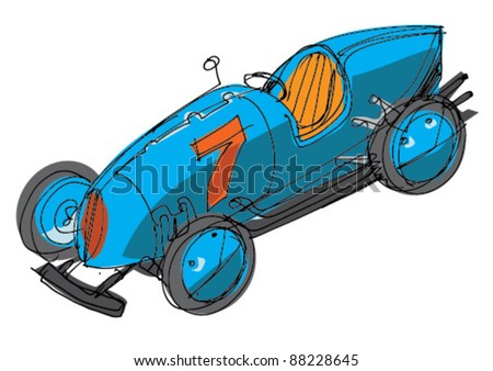 vintage sport car - stock vector