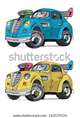 vintage sport car - cartoon - stock vector