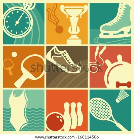 Vintage sport symbols - stock vector