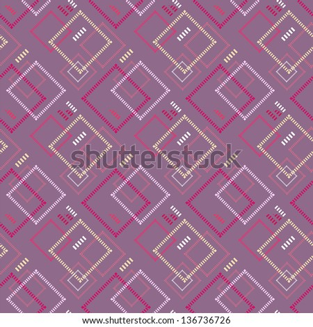 Vintage square pattern - stock vector