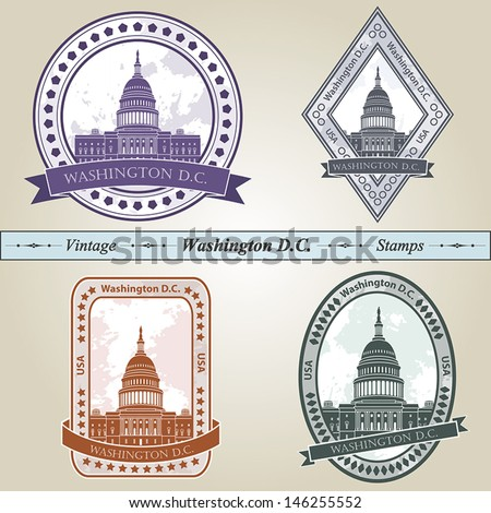 Vintage stamp from Washington DC in four colors editable vector file - stock vector