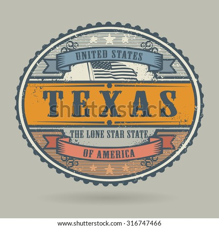Vintage stamp or label with the text United States of America, Texas, vector illustration - stock vector