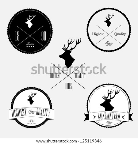 Vintage stamp set with deer - stock vector