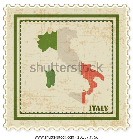 VINTAGE STAMP WITH ITALY MAP BACKGROUND VECTOR - stock vector