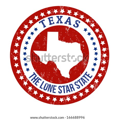 Vintage stamp with text The Lone Star State written inside and map of Texas, vector illustration - stock vector