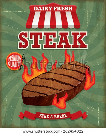 Vintage steak poster design - stock vector