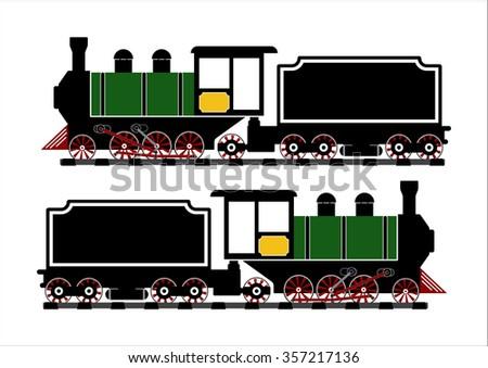 Vintage Steam engine locomotive train truck on railroad track isolated on white background.Vector illustration flat design transportation concept.  - stock vector