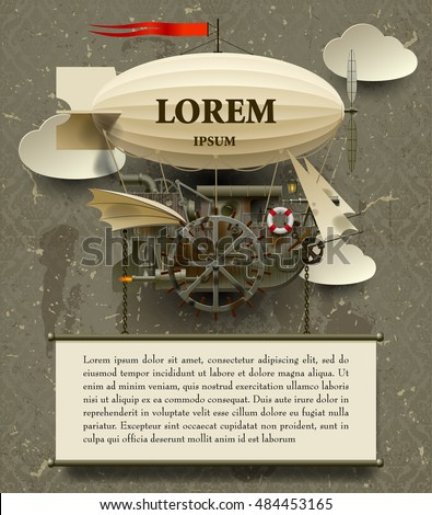 vintage steampunk template complex fantastic flying stock vector