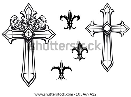 Vintage stone cross with heraldic elements for design, such logo. Jpeg version also available in gallery - stock vector