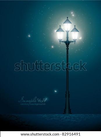 Vintage street lantern - stock vector