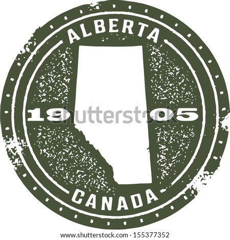 Vintage Style Alberta Canada Stamp - stock vector