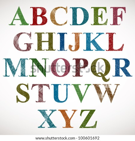 Vintage style alphabet, classic shaped letters with sketch lines texture, vector. - stock vector
