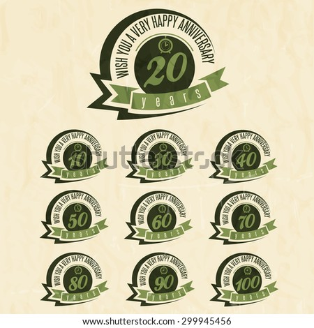 Vintage style anniversary sign collection. Anniversary cards design in retro style. - stock vector