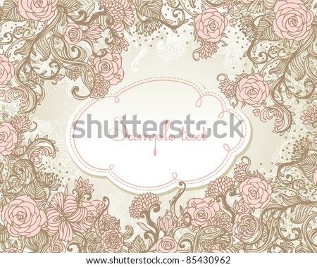 Vintage style background with flowers - stock vector