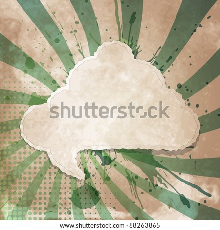 Vintage style background with torn paper speech bubble - stock vector