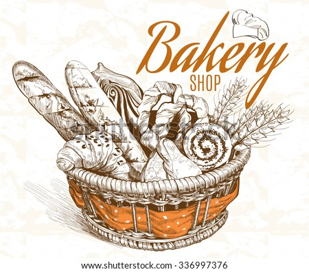 Vintage style bakery basket. Vector illustration - stock vector