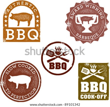 Vintage Style BBQ Stamps - stock vector