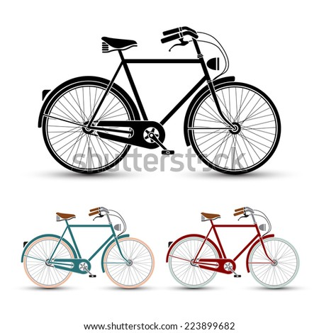 Vintage Style Bicycles set vector illustration - stock vector