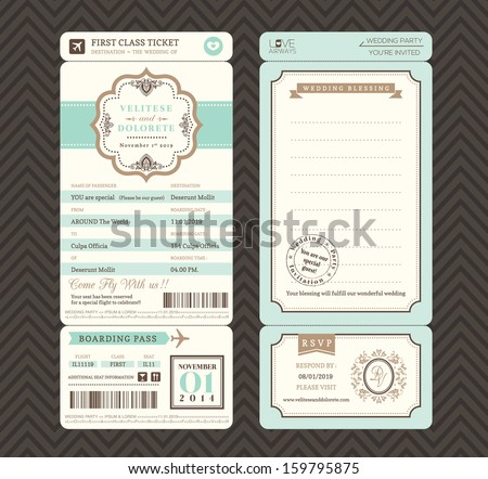 Vintage style boarding pass ticket wedding stock vector 2018 vintage style boarding pass ticket wedding invitation template vector stopboris Image collections