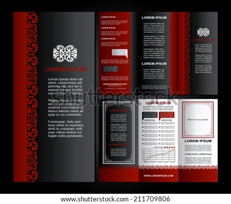 Vintage style brochure design template with logo, modern art elements and creative ornament, black, red and white classic colors page layouts, artistic solutions for design and decoration - stock vector