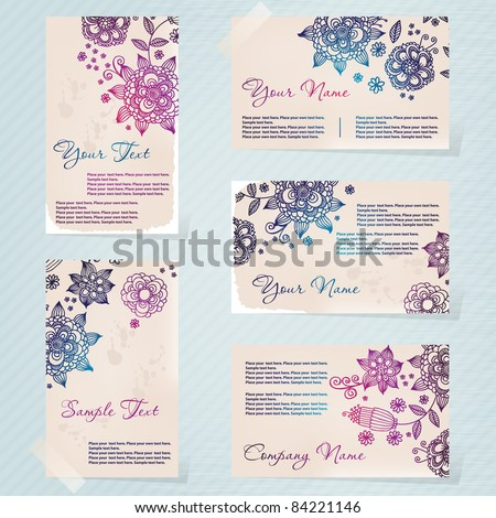 Vintage style business card set - stock vector
