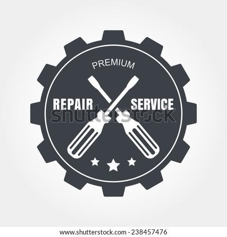Vintage style car repair service label. Vector logo design template. - stock vector