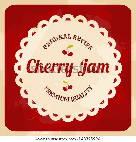 Vintage style cherry jam card. - stock vector
