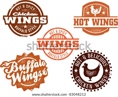 Vintage Style Chicken Wing Graphics - stock vector
