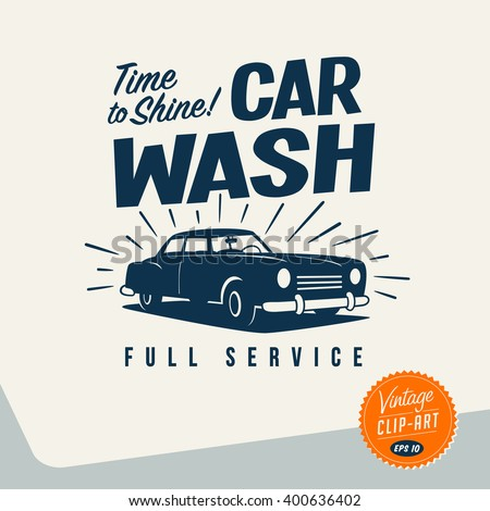 Vintage style Clip Art - Car Wash - Vector EPS10. - stock vector