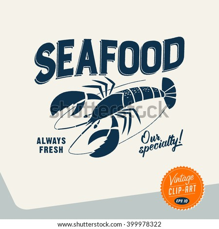 Vintage style Clip Art - Seafood- Vector EPS10. - stock vector