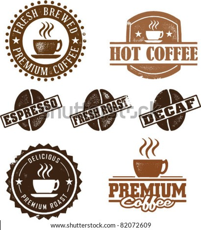 Vintage Coffee Logo Vintage Style Coffee Stamps